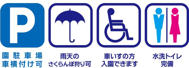 園駐車場車横付け可,雨天のさくらんぼ狩り可,車いすの方 入園できます,水洗トイレ完備